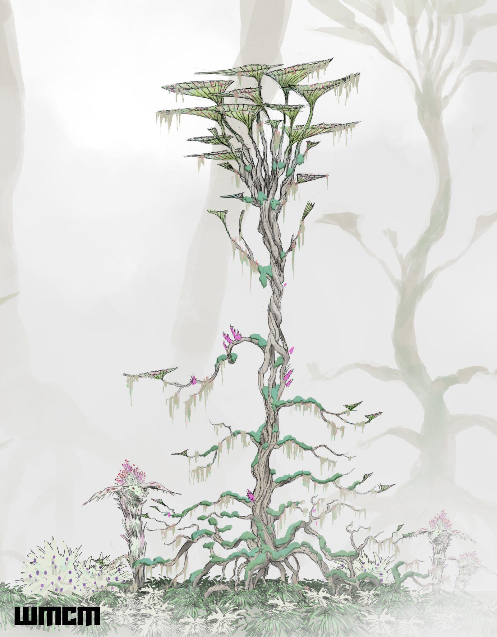 Design einer Alien-Pflanze im Nebelwald