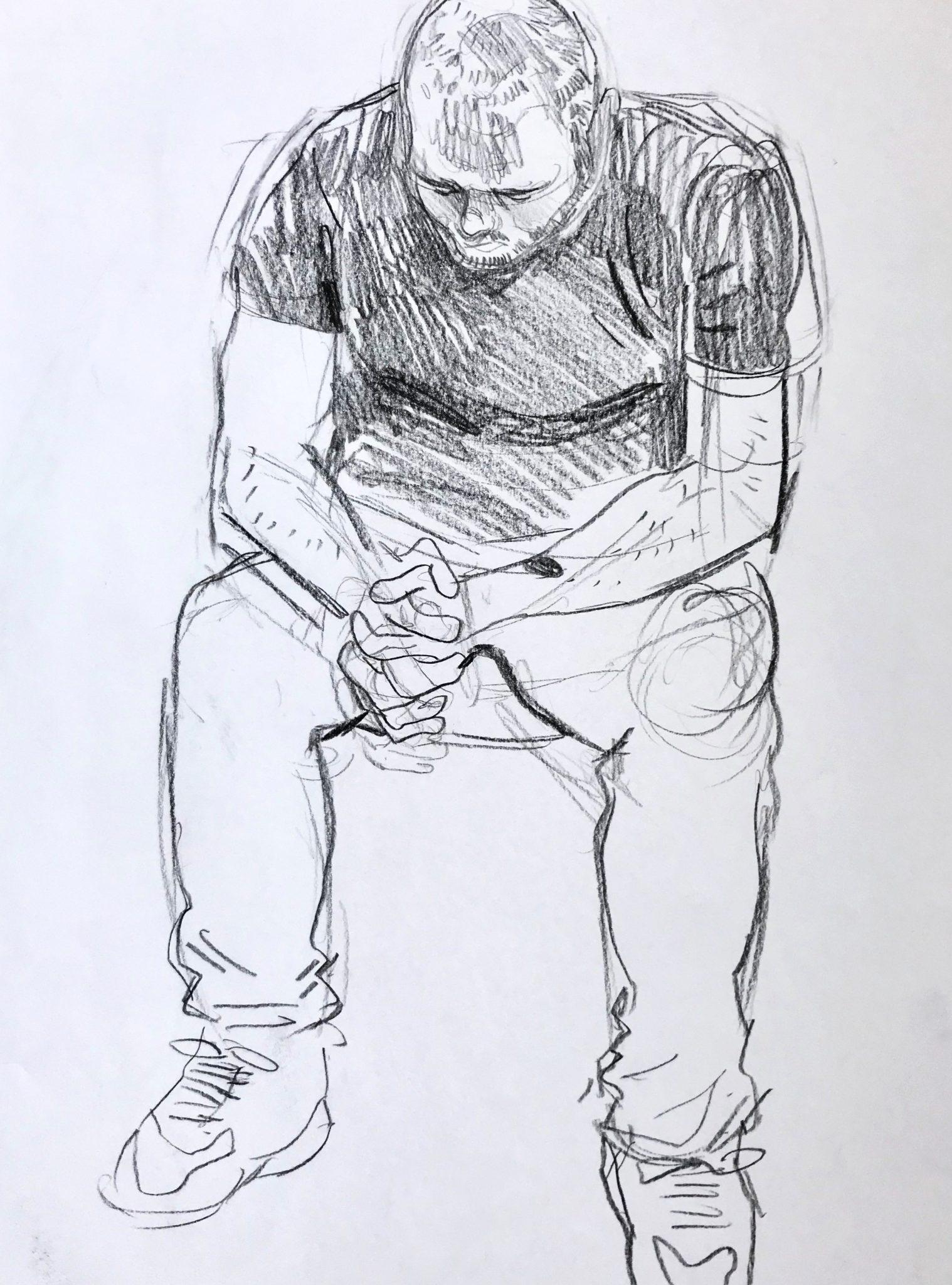 Buntstiftzeichnung von einem jungen Mann