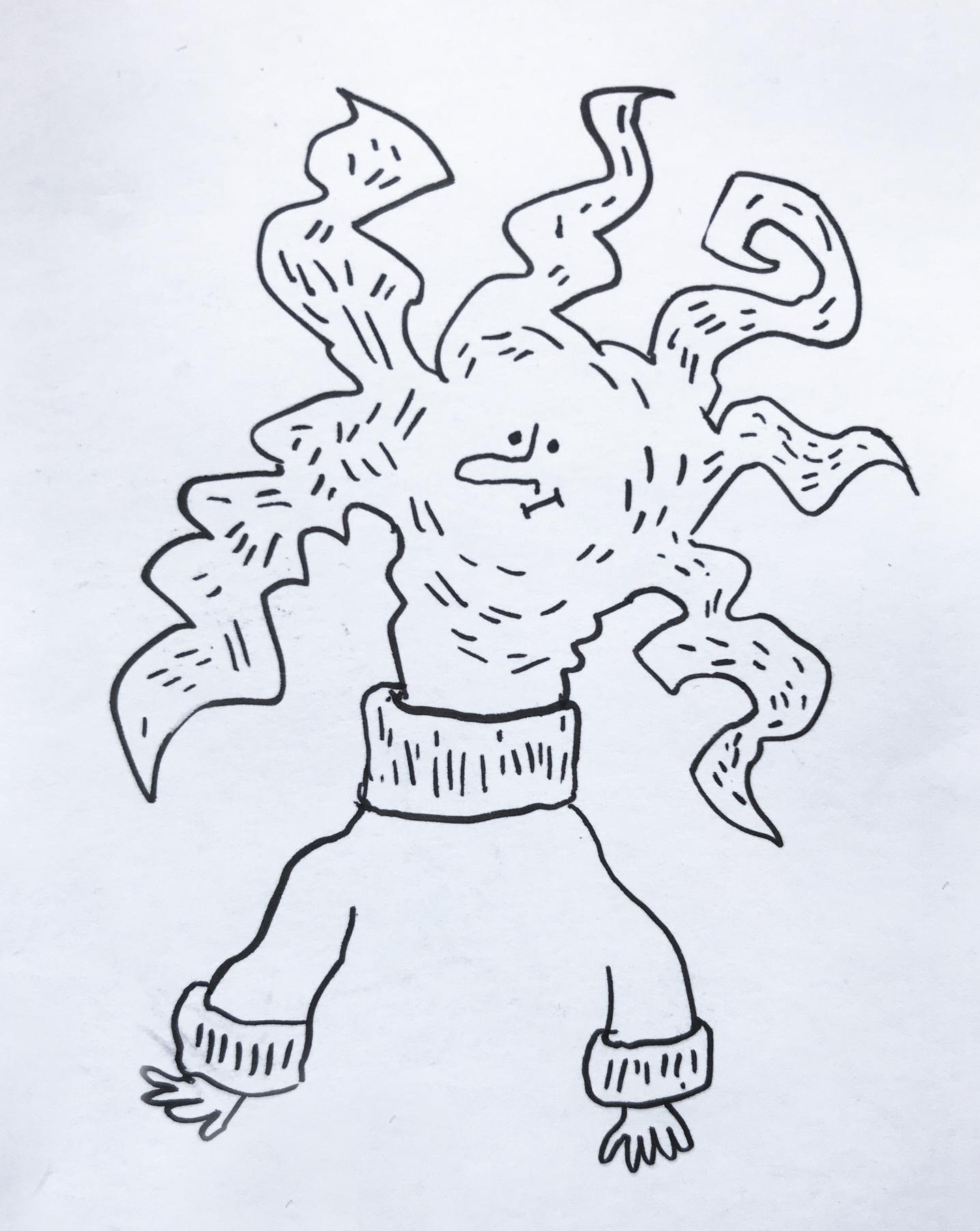 Simples Characterdesign von einem Nudelkopf