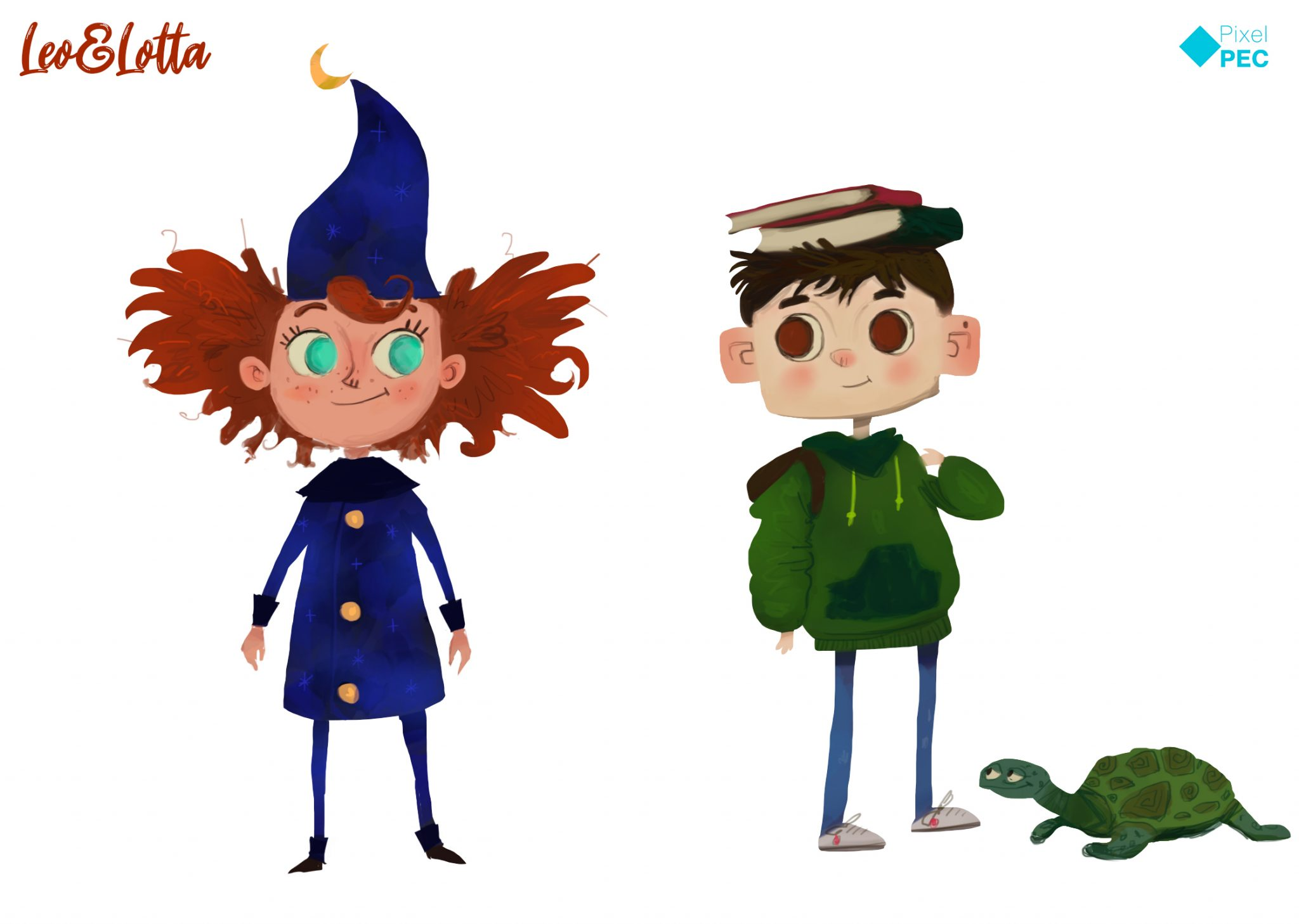Characterdesign von der wilden Lotta und dem schüchternen Leo