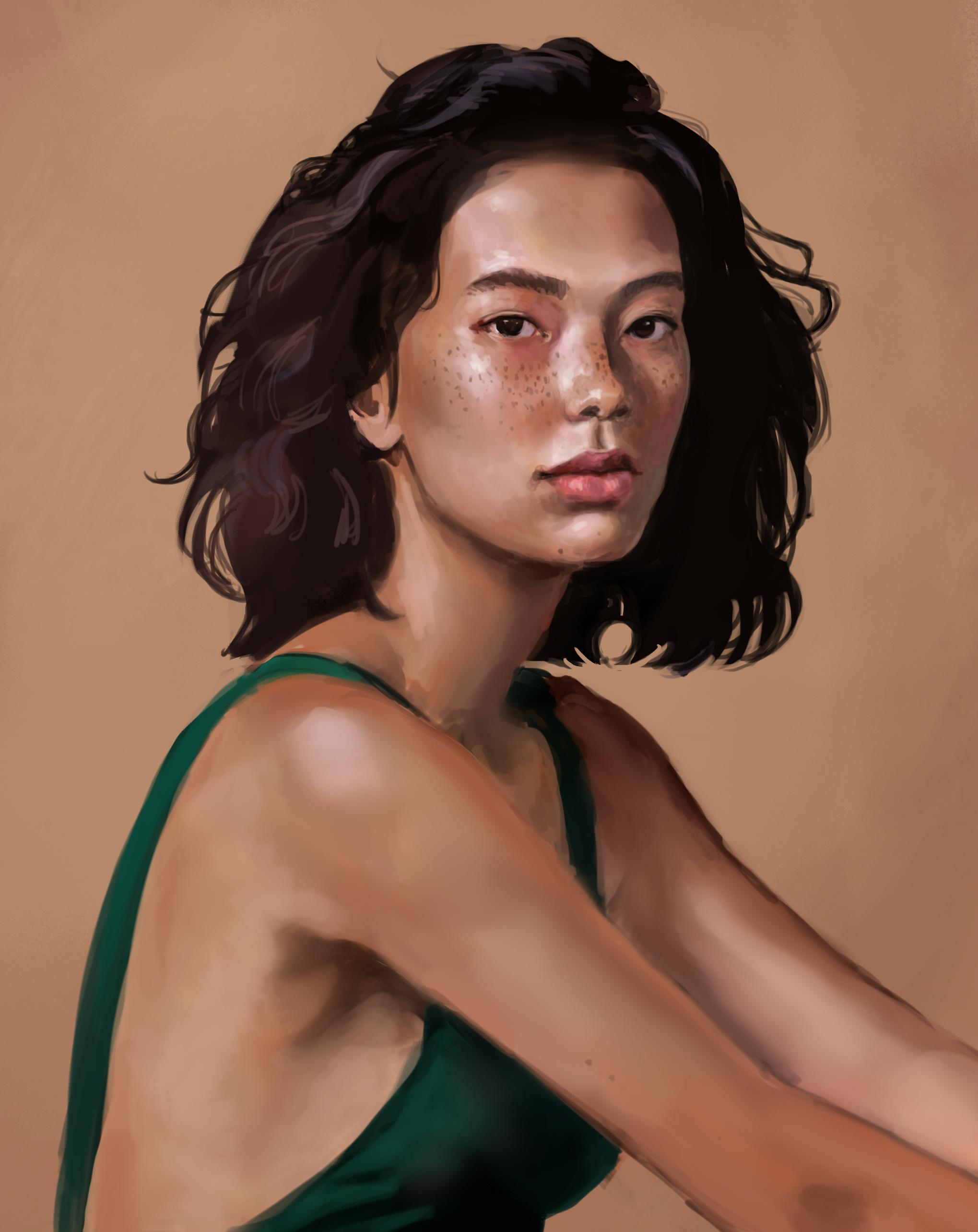 Gemalte Portrait-Illustration von einer jungen asiatischen Frau