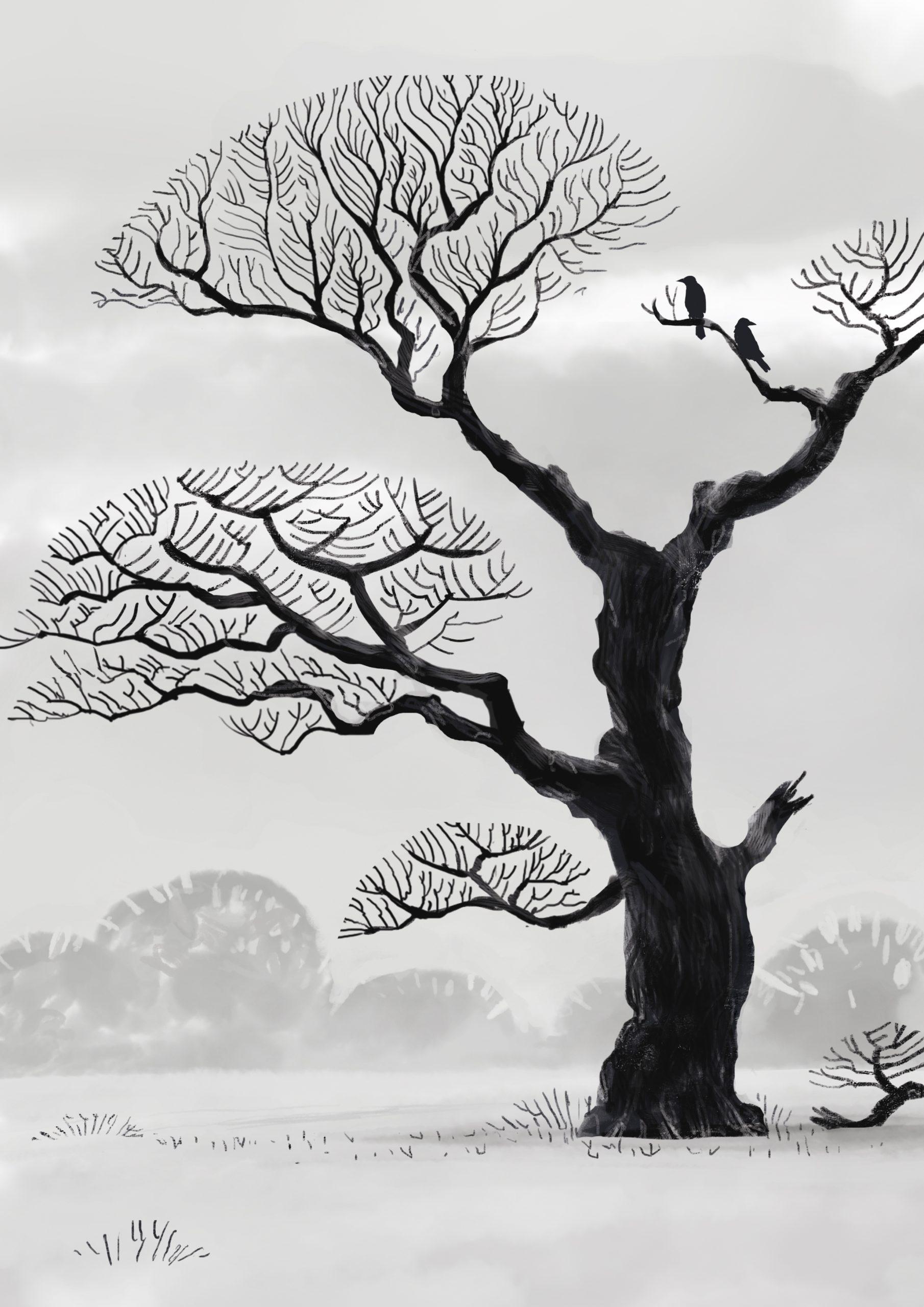 Ein kahler Baum im Winter mit Krähen