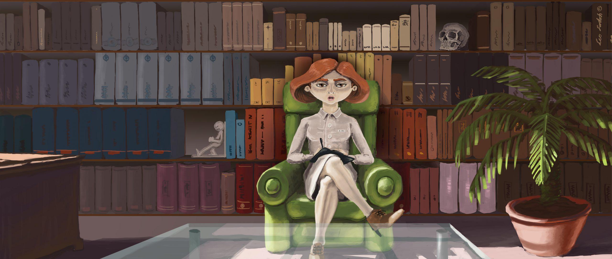 Die Therapeutin vor einem mächtigen Bücherregal