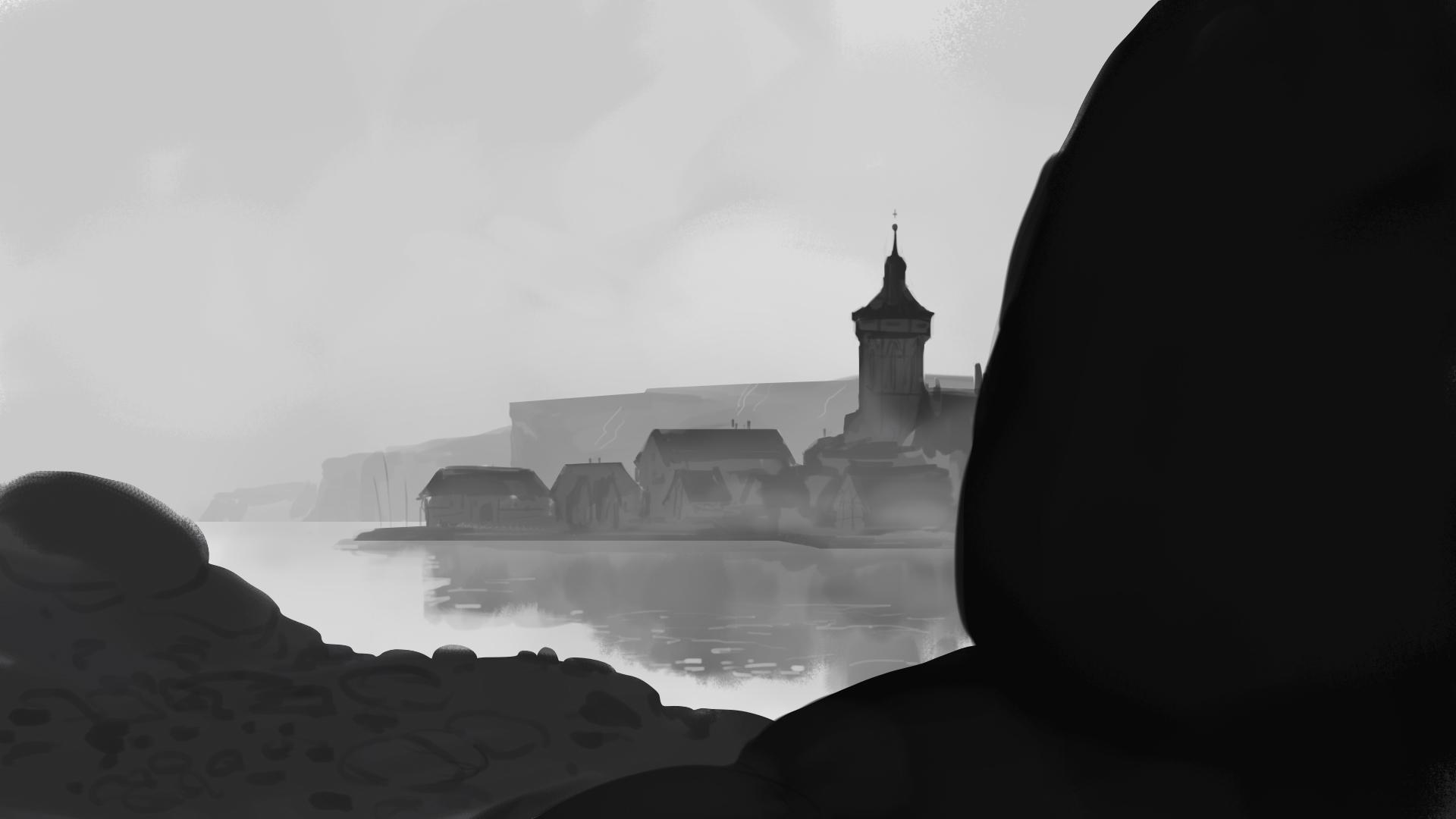 Eine kleine Hafenstadt im Nebel