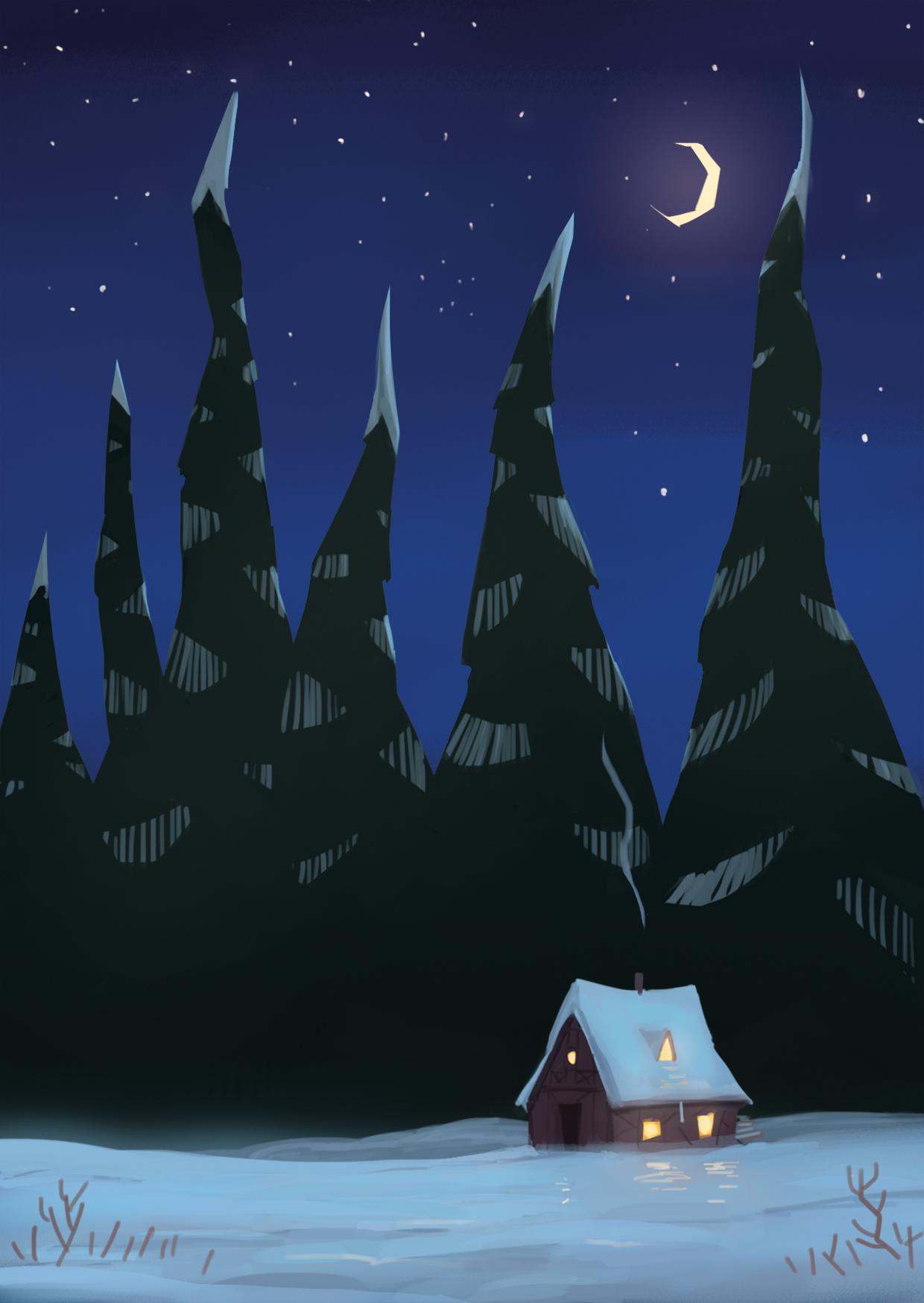 Einsame Hütte vor einer klaren Winternacht