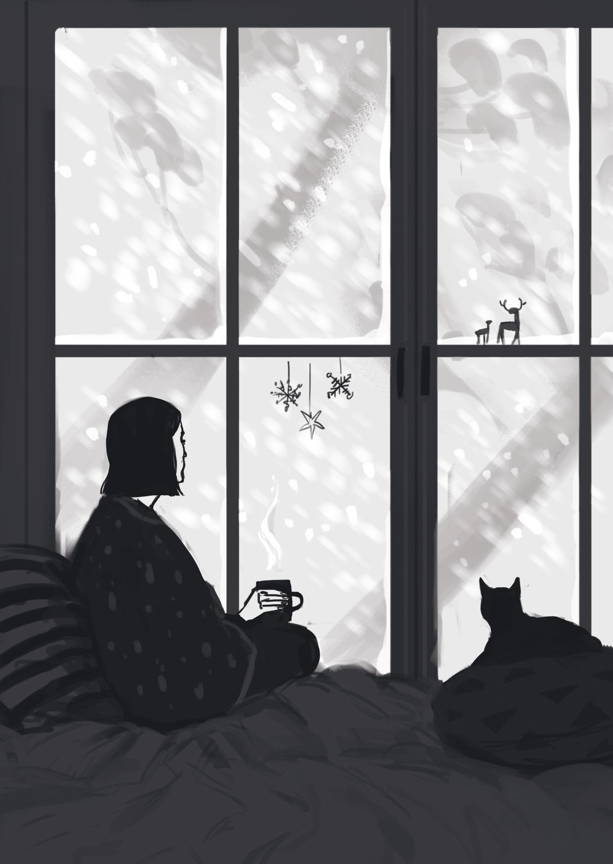 Frau trinkt Tee am Fenster vor einem Schneesturm